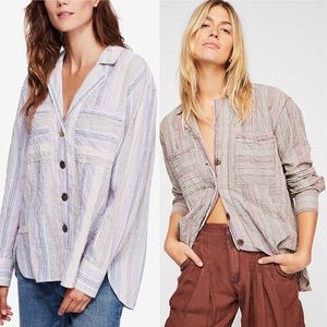 •Free People• High Tide Button Down Gauze Striped